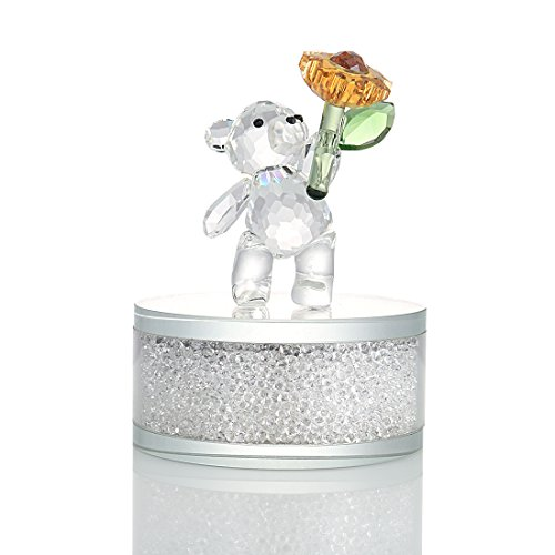 H&D Crystal Collection Bear Figurines with Rhinestones Base,3.1-Inch