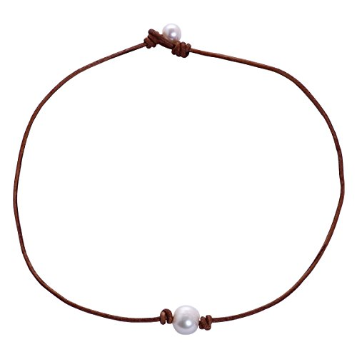 Aobei Pearl 20 Handmade Freshwater Pearls Pendant Necklace with Cultured Pearls and Braided Leather