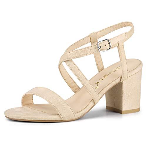 Allegra K Women's Crisscross Straps Heeled Beige Sandals - 6 M US ()