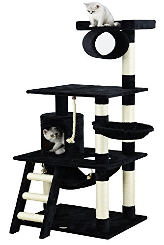 Condo Cat Wood (Go Pet Club 62-Inch Cat Tree, Black)