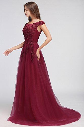 Spitzen Damen Ballkleid Tüll Silber Rückenfrei MisShow® Bodenlang Abendkleid 32 46 Hochzeitskleid dqt7W5w