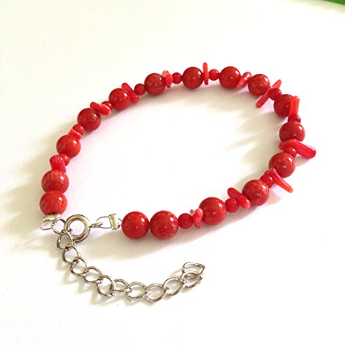 Sea Coral Bracelet - Red Bamboo and Sea Coral Bead Bracelet