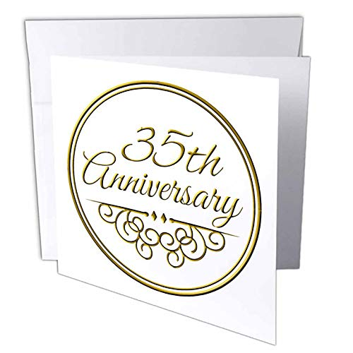 3dRose 35th Anniversary - Gold text Wedding Anniversary Greeting Cards, 6