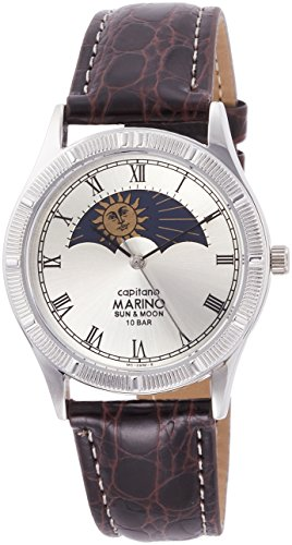 MARINO capitano watch SUN & MOON Leather Band Brown MC-281M-5 for Men MC-281M-5