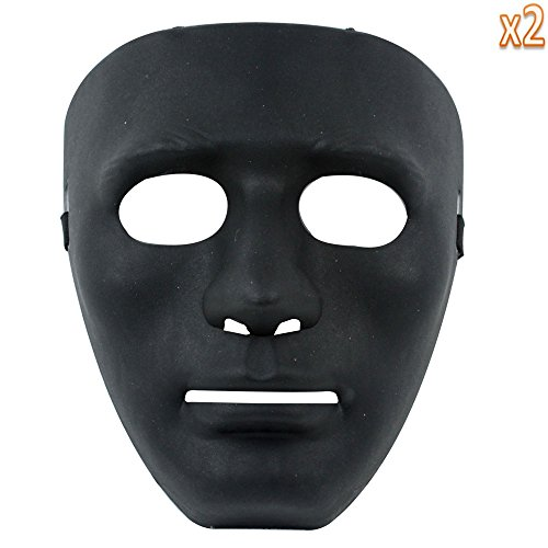 [niceeshop(TM) Male Mask Halloween Costume Drama Mask (Black,2 Pieces)] (Drama Mask Costume)