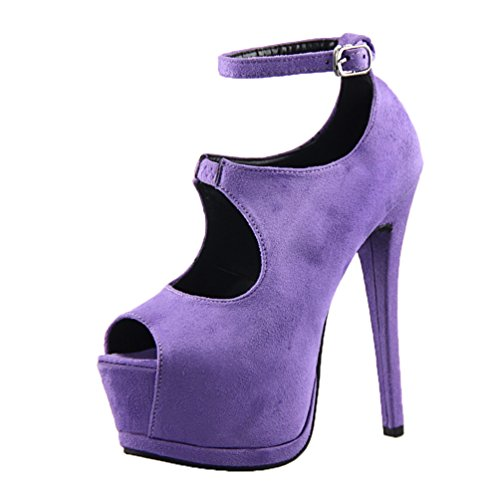 HooH Women's Sexy Peep Toe Ankle Strap Platform Stiletto Sandals Purple P5EM4lGc