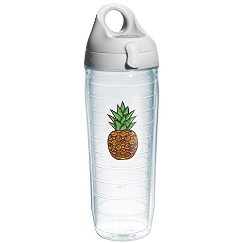 Tervis Pineapple Expression Emblem and Water Bottle with Grey Lid, 24-Ounce, (Pineapple Emblem)