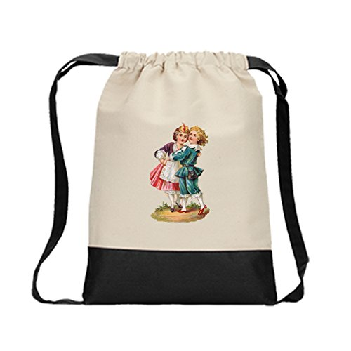 Canvas Backpack Color Drawstring Couple Dance Vintage Look By Style In Print | Black by Style in Print