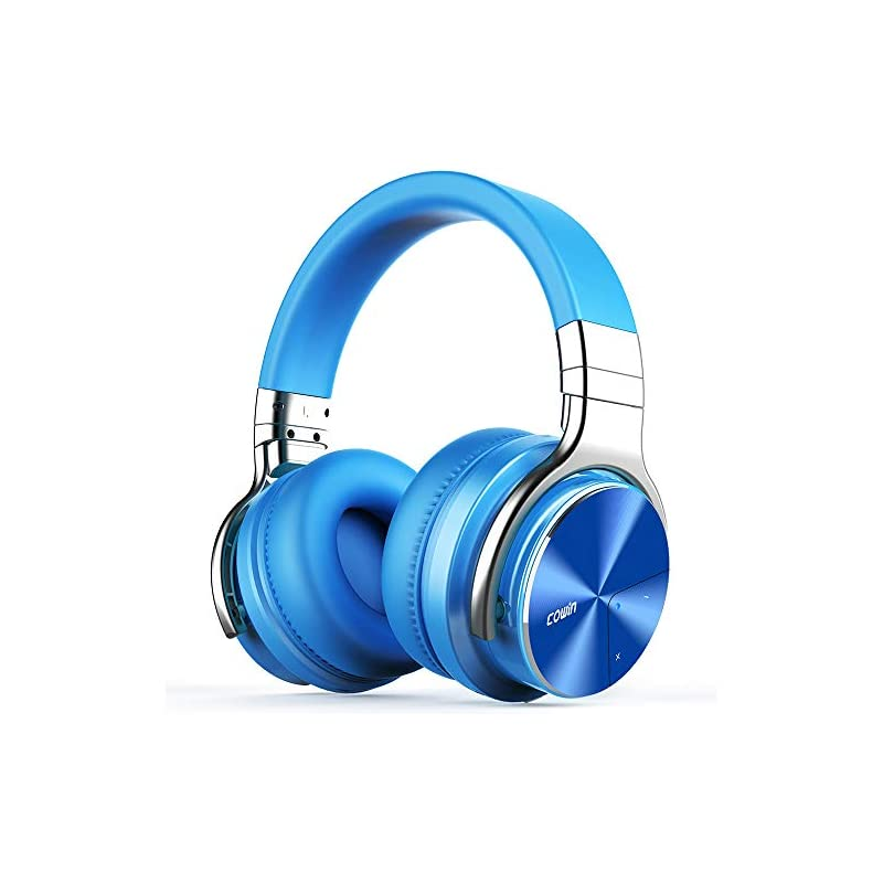 COWIN E7 Pro [2018 Upgraded] Active Noise Cancelling Headphones Bluetooth Headphones with Mic Hi-Fi Deep Bass Wireless Headphones Over Ear 30H Playtime Travel Work TV Computer Cellphone - Blue