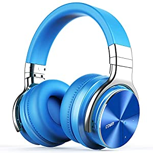 COWIN E7 PRO [Upgraded] Active Noise Cancelling Headphones Bluetooth Headphones with Mic Hi-Fi Deep Bass Wireless Headphones Over Ear 30H Playtime Travel Work TV Computer Cellphone – Blue