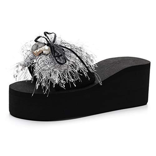 Teresamoon Women Wedge Pearl Slides Home Bathroom Beach Flip Flops Shoes Seaside...