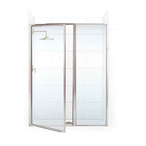 Coastal Shower Doors Legend Series Framed Hinge Swing Shower Door with Inline Panel In Clear Glass, 51