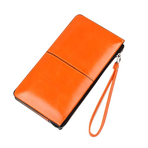 Damen Elegant PU Leder Lang Geldbörse Portemonnaie Reißverschluss-Mappen-Handhandtasche Himmelblau Orange hFO9Az