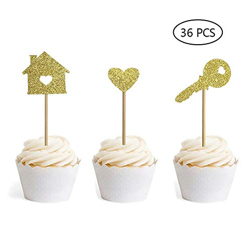 Home Cupcake Toppers New House Housewarming Party Decorations Welcome New Home Party Decorations Gold Glitter House Cupcake Topper Set of 36 (Gold) ()