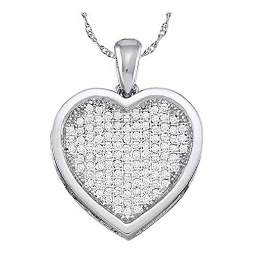 - Diamond Cluster Small Heart Love Pendant 1/20ct 10k White Gold