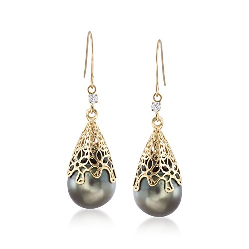Ross-Simons Certified 11-12mm Black Cultured Tahitian Pearl Drop Earring With Diamonds in 14kt Yellow Gold