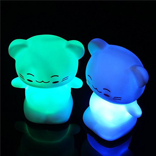 Madonna Boy Toy Halloween Costume (LED Kitten Nightlight Baby Room Kids Assorted Colors Sleep Night Light Up Toy 2.9 x2 Inch)