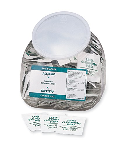 "Allegro Industries 0350‐20 Bucket Eyewear Cleaning Wipes, 5"" x 8"" (Pack of 200)"