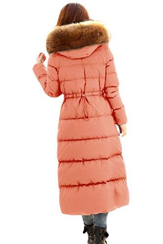 xiaolv88mujeres de la moda cuello de piel caliente Slim largo con capucha para hombre Rosa