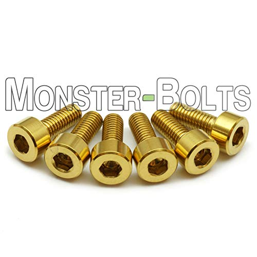 (6) Gold Anodized Titanium - Floyd Rose Style Guitar Saddle Intonation Mounting Hold Screws Set - MonsterBolts (Qty 6, Titanium - Gold)