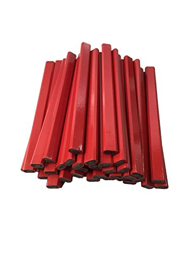 Flat Wooden Red Carpenter Pencils #2 Lead - 72 Count Bulk Box Made In The USA