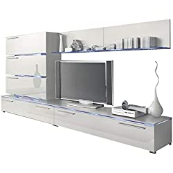 Liren White - Contemporary Wall Unit/European Entertainment Center/Design Furniture with LED Lights (White)