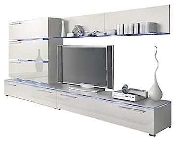 Liren White   Contemporary Wall Unit/European Entertainment Center/Design  Furniture With LED Lights
