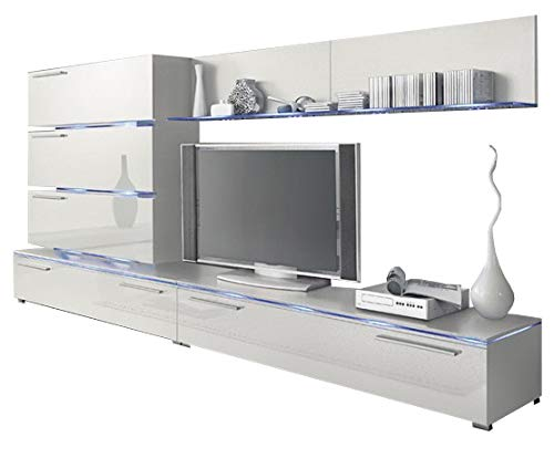 (Liren White - Contemporary Wall Unit/European Entertainment Center/Design Furniture with LED Lights (White))