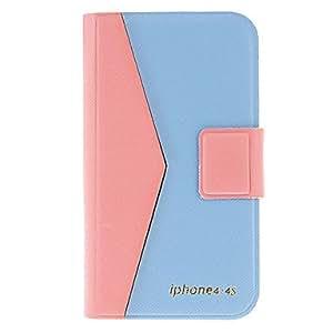 comprar Contraste Caso del color de cuerpo completo de la PU con el soporte y ranura para tarjeta para iPhone 4/4S (colores surtidos) , Rosa