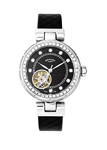 Rotary Ls003-A-13 Women's Project/D London Auto Black Leather And Dial Ss Watch