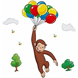 Curious George Monkey Wall Stickers Party Decorations Room Decor Decals Balloons