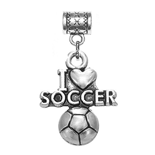 Sports charms in antique silver (I Love Soccer (Love Football Charm)