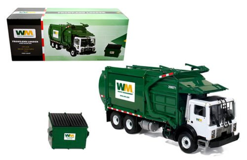 FIRST GEAR 1:34 WASTE MANAGEMENT - MACK TERRAPRO FRONT LOAD REFUSE WITH TRASH BIN DIECAST TOY CAR 10-4001
