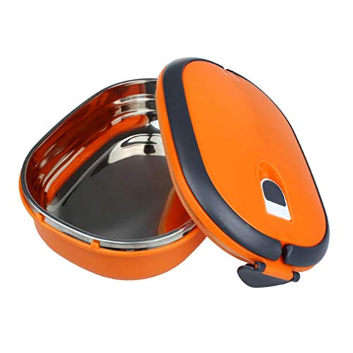 - Stainless Steel Picnic Food Container Kids Student Lunch Bento Box Warm Keeping Single Layer Food Storage Box On Orange