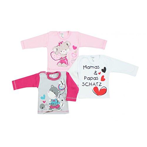 Baby Langarmshirt mit Spruch Aufdruck Langarm Shirt Mädchen Fun-Bekleidung Jungen T-Shirt im 3er SET, Farbe: Mädchen, Größe: 62