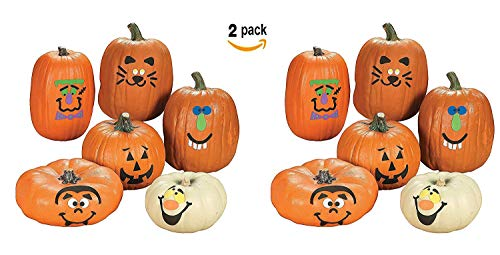 Fun Express Pumpkin Decoration Crafting Kit with Foam Adhesive | 2-Pack (24 Count) | Great for Halloween-Themed Activities for Kids Age 5+ ()