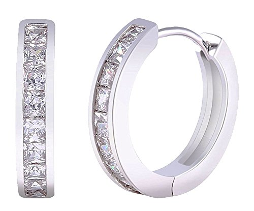 Sapphire Austrian Crystal Earrings (Yves Renaud White Gold Plated Hoop Earrings with Single Row Austrian Crystal White Sapphires Set - Fashion Jewelry for Women - 1 Pair with Pouch and Cleaning Cloth)