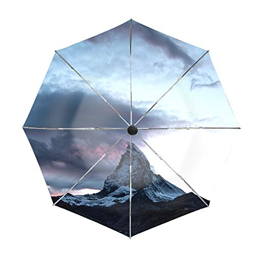 Summit Canopy Rain Double (Mountain Summit Clouds Switzerland Compact Travel Umbrella with Windproof Double Canopy Construction)