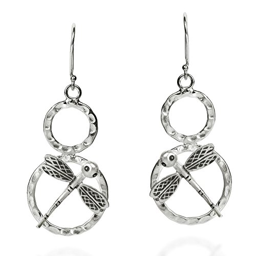 Enchanted Dragonfly on Circle Hill Tribe Sterling Silver Earrings (Silver Circle Tribe Hill)