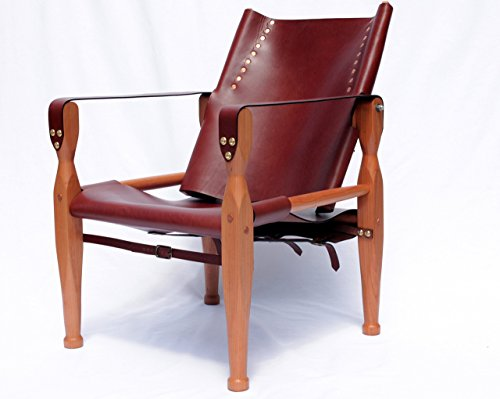 Brown Safari Roorkhee Campaign Camp Leather Wood Lounge Sling Chair Custom Bespoke Outdoor Drinking Relaxing - Chairs Camp Custom