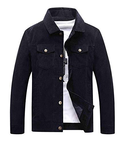Chartou Men's Vintage Button-Front Slim Fit Corduroy Denim Jacket (Medium, Navy Blue)