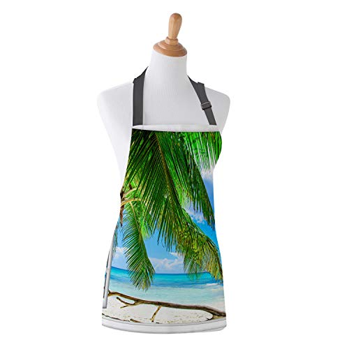 Apron Tropical Ocean Coast Island Palms Trees Theme Design Kitchen Bib Apron Ideal for Cooking Dishwashing Cleaning Painting 19X23Inch