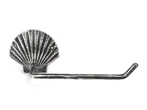 - Hampton Nautical Antique Silver Cast Iron Shell Toilet Paper Holder 10