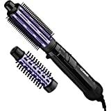 """Conair 2 in 1 Hot Air Brush, with 1.5"""" Aluminum Barrel and 1"""" Natural Boar and Nylon Bristle Brush Attachment, with Cool…"""