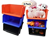 Small Stackable Storage Bins Plastic Nesting Baskets (6 Pack),9.5' x 4.25' x 7.5' Desk & Toy Organizer