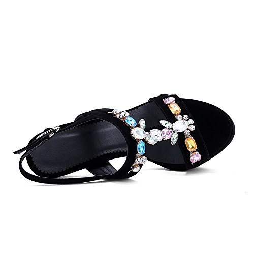 Stilettos AmoonyFashion Sandals Womens Frosted Black Spikes Open Solid Toe Buckle wAHArqX