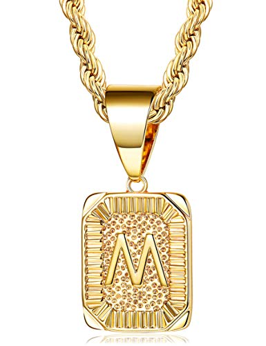 - Fiasaso M Letter Necklace for Men Women Gold Plated Initial Alphabet Pendant Necklace Rope Chain 4MM
