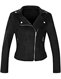 Women's Stylish Notched Collar Oblique Zip Suede Leather Moto Jacket