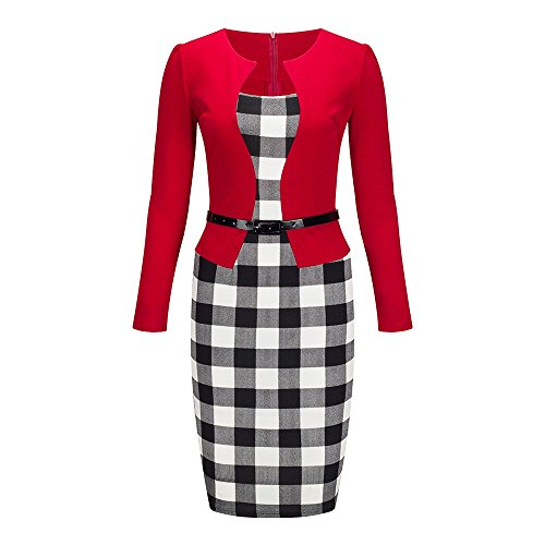Femmes Beauty7 Longues Manches Usure Colorblock Travailler Robe Ol