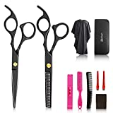 10Pcs Hair Cutting Scissors Set, Professional Haircut Scissors Kit with Cutting Scissors,Thinning Scissors, Comb,Cape, Clips, Black Hairdressing Shears Set for Barber, Salon, Home
